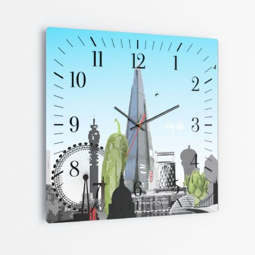 London Skyline With A Twist Blue - Square Glass Clock